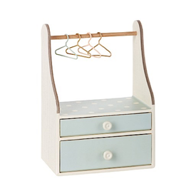 Maileg Maileg Micro Wardrobe Dresser with Four Hangers - mint