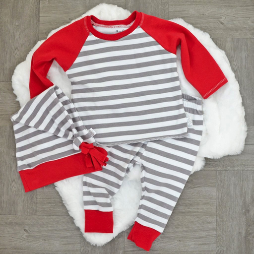 Two Little Beans & Co. Two Little Beans Raglan Top - Holiday Red Stripe