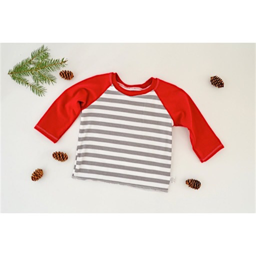 Two Little Beans Raglan Top - Holiday Red Stripe