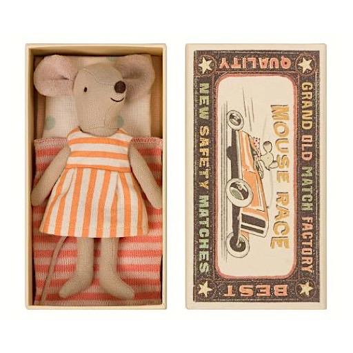 Maileg Maileg Mouse - Big Sister in Box - Orange Stripe Dress