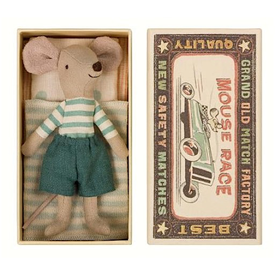 Maileg Maileg Mouse - Big Brother in Box - Stripe Shirt/Teal Trouser
