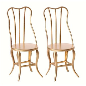 Maileg Maileg Vintage Micro Chair - Gold - 2 pcs