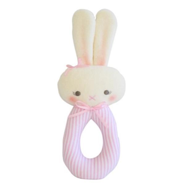Alimrose Alimrose Bunny Grab Rattle - Pink Stripe