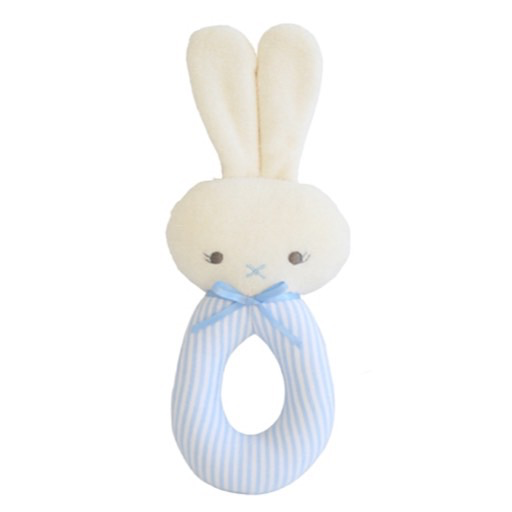 Alimrose Bunny Grab Rattle - Blue Stripe