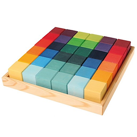 Grimms Grimms 36 Square Cubes - Rainbow