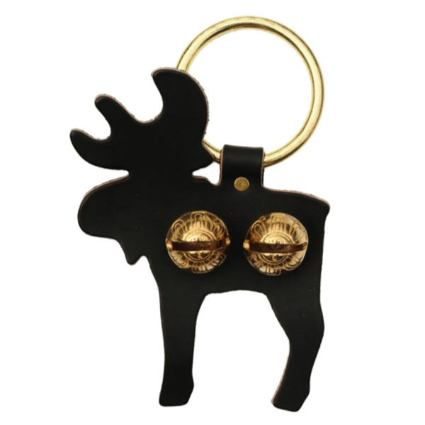 New England Bells Brass Door Chime Bell - Moose - Dark Brown