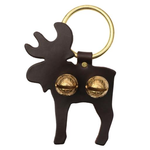 Brass Door Chime Bell - Moose - Dark Brown