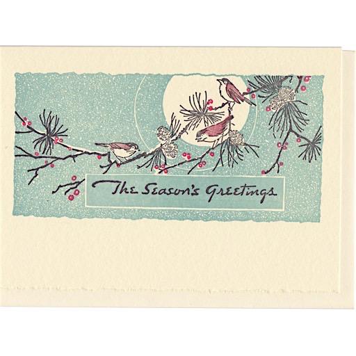 Saturn Press Saturn Press Holiday Card Box - Moon Birds