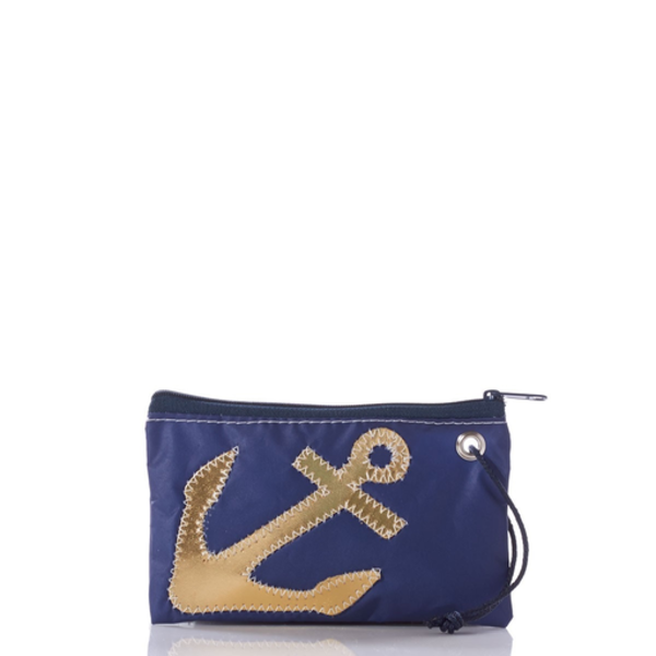 Sea Bags Sea Bags Wristlet - Gold Anchor on Navy