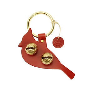 New England Bells Brass Door Chime Bell - Cardinal - Red