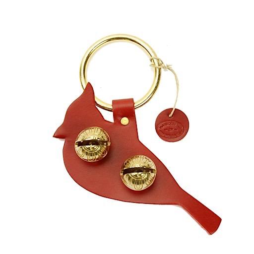 New England Bells Brass Door Chime Bell - Cardinal - Red