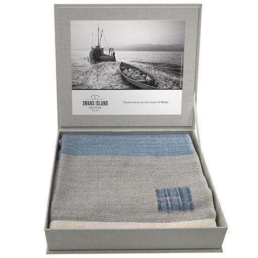 Swans Island Merino Coastal Throw Blanket - White, Grey & Marine