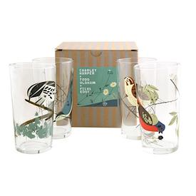 Fishs Eddy Oldham + Harper Bird Glasses Set of 4