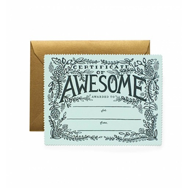 Rifle Paper Rifle Paper Co. Card - Certificate of Awesome