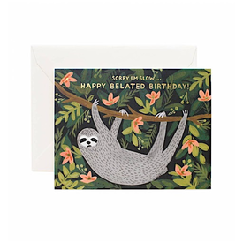 Rifle Paper Rifle Paper Co. Card - Sloth Belated Birthday