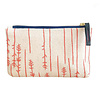 Erin Flett Bark Cloth Card Wallet Pouch - Coral - Twigs - Navy Zip