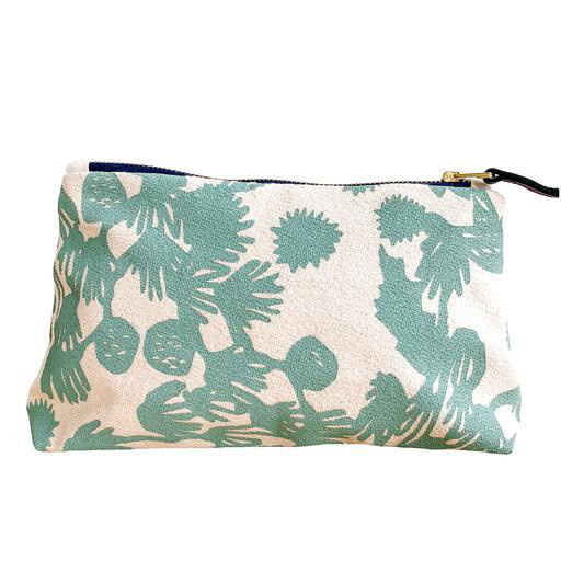 Erin Flett Erin Flett Bark Cloth Makeup Zipper Pouch - Robins Egg Blue - Deep Woods - Navy Zip