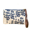 Erin Flett Bark Cloth Wristlet Zipper Pouch - Navy - Rain - Navy Zip