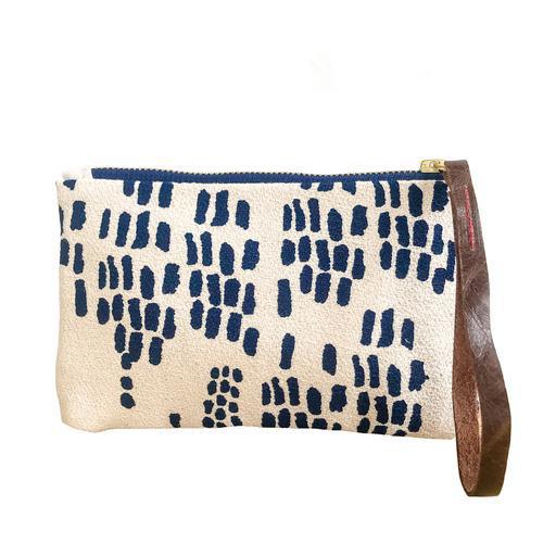 Erin Flett Bark Cloth Wristlet Zipper Pouch - Navy - Rain - Navy Zip