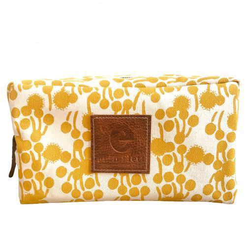 Erin Flett Heavy Canvas Dopp Kit - Gold - Berries - White Zip