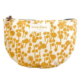 Erin Flett Erin Flett Heavy Canvas Half Large Moon Bag - Gold - Berries - Navy Zip