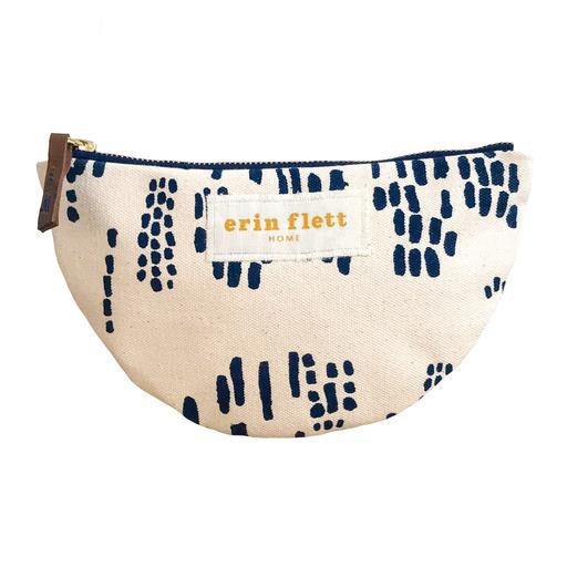 Erin Flett Heavy Canvas Small Half Moon Bag - Navy - Rain - White Zip