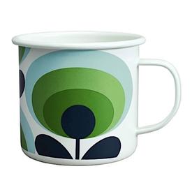 Wild & Wolf Orla Kiely Enamal Mug - 70s Flower Oval - Apple