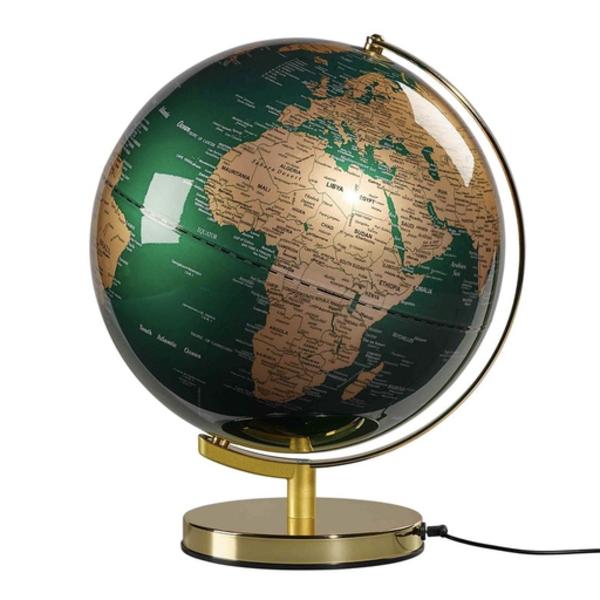 """Wild & Wolf Globe Light 12"""", Fir Green & Brass"""