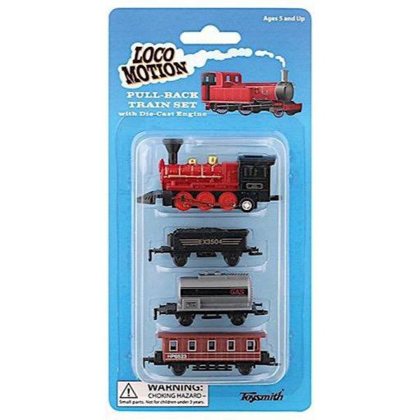 Toysmith Locomotion Pull Back Train Set