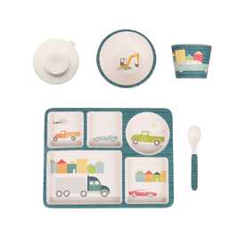 Love Mae Love Mae Bamboo Divided Plate Set - Cars and Trucks