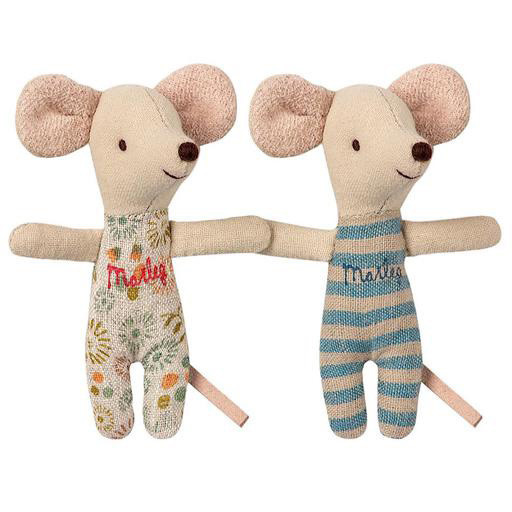 Maileg Mouse - Baby Twins in Box - Teal Flower