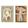 Maileg Mouse - Baby Boy In Box - Sleepy-Wakey Blue Stripe