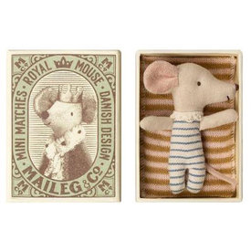 Maileg Maileg Mouse - Baby Boy In Box - Sleepy-Wakey Blue Stripe
