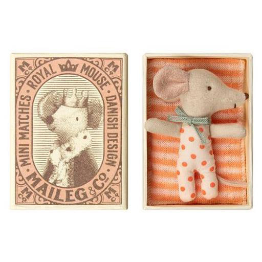 Maileg Maileg Mouse - Baby Girl in Box - Sleepy-Wakey Orange Polka Dot