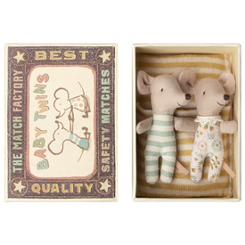 Maileg Maileg Mouse - Baby Twins in Box - Yellow Stripe