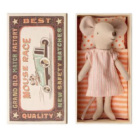 Maileg Maileg Mouse - Big Sister in Box - Pink Stripe Dress