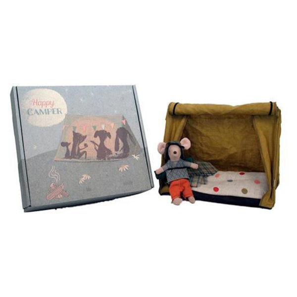 Maileg Maileg Mouse - Hiker Mouse with Tent & Flashlight