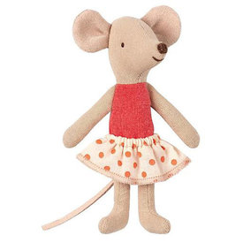 Maileg Maileg Mouse - Little Sister In Box - Orange Polka Dot