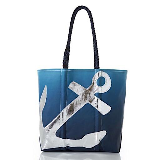 Sea Bags Sea Bags Silver Anchor on Blue Ombre Tote - Medium