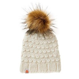 Shit That I Knit Shit That I Knit Gunn Beanie - White Lie - Faux Fur Pom