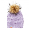 Shit That I Knit Motley Beanie - Lavender - Faux Fur Pom
