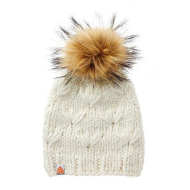 Sh*t That I Knit Sh*t That I Knit - Motley Beanie - White Lie - Faux Fur Pom