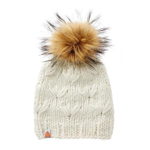 Sh*t That I Knit - Motley Beanie - White Lie - Faux Fur Pom