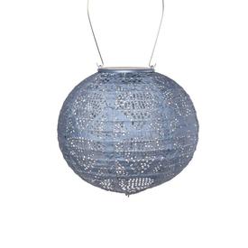 Allsop Home & Garden Soji Stella – Globe – 8″ Tyvek Solar Lantern - Sky Blue Metallic