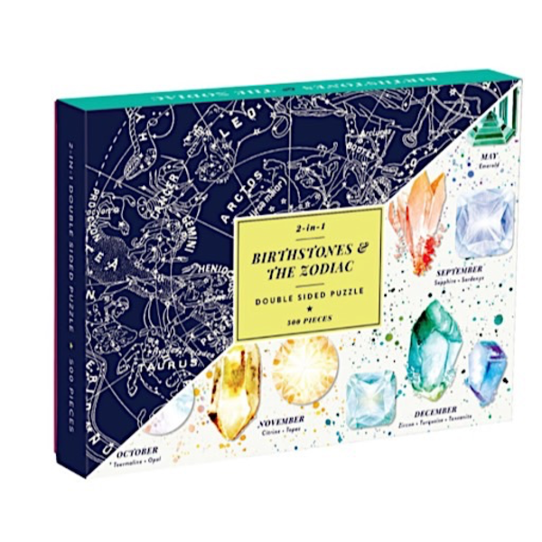 Galison Mudpuppy Birthstones & The Zodiac 2-In-1 Double Sided Puzzle