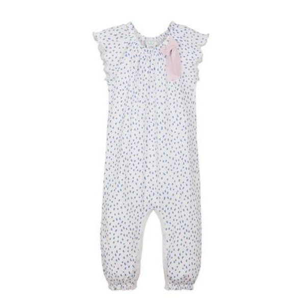 Feather Baby Feather Baby Bow Romper - Pintas Blue on White