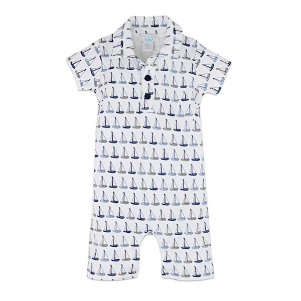 Feather Baby Feather Baby Organic Collared Romper - Sailboats