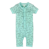 Feather Baby Henley Romper - Big Fish Black on Aqua