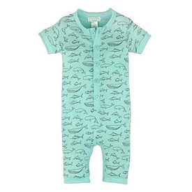 Feather Baby Feather Baby Henley Romper - Big Fish Black on Aqua