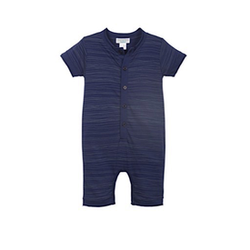 Feather Baby Feather Baby Henley Romper - Stripe Wood on Indigo